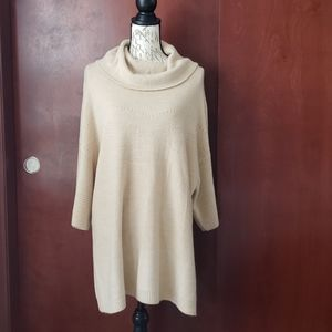 Cowl neck tunic sweater with 3/4 sleeves, tan.